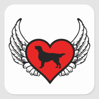 Flat-Coated Retriever Winged Heart Love Dogs Square Sticker