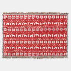 Flat Coated Retrievers Christmas Pattern Red Throw Blanket