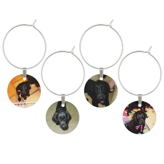 Flat Coated Retrievers -- Puppy Faces Wine Charm