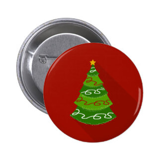 Flat Design Christmas Tree 2 Inch Round Button