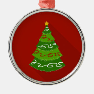 Flat Design Christmas Tree Silver-Colored Round Ornament