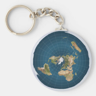 Flat Earth AE Azimuthal Equidistant Map Key Ring 2 Basic Round Button Keychain