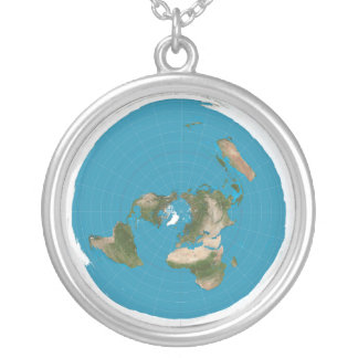 Flat Earth AE Azimuthal Map Pendant Necklace