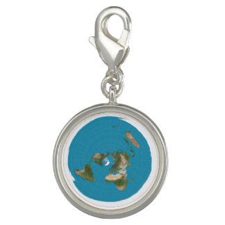 Flat Earth Azimuthal AE Map Round Silver Charm