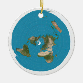 flat earth ceramic ornament