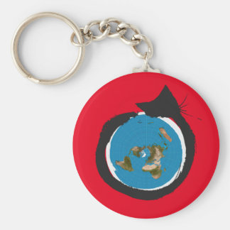 Flat Earth Designs - CAT MAP CLASSIC Basic Round Button Keychain
