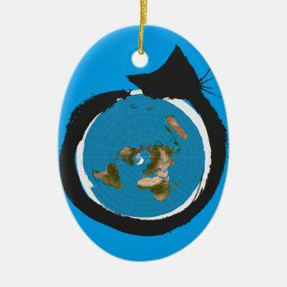 Flat Earth Designs - CAT MAP CLASSIC Ceramic Ornament