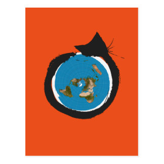 Flat Earth Designs - CAT MAP CLASSIC Postcard