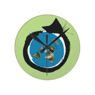 Flat Earth Designs - CAT MAP CLASSIC Round Clock