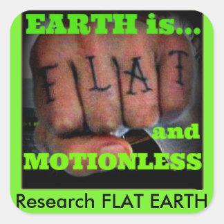 flat earth fist square sticker