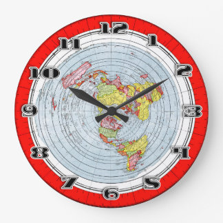 Flat Earth Gleasons New Standard Map of the World Large Clock