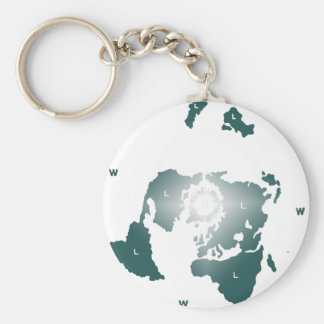 Flat Earth Map, Azimuthal Equidistant Map Zetetic Basic Round Button Keychain