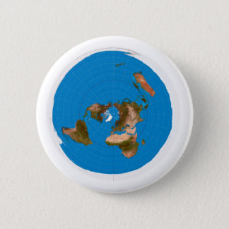Flat Earth Map - Azimuthal Equidistant Projection 2 Inch Round Button