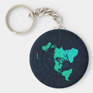 Flat Earth Map (Azimuthal equidistant projection) Basic Round Button Keychain