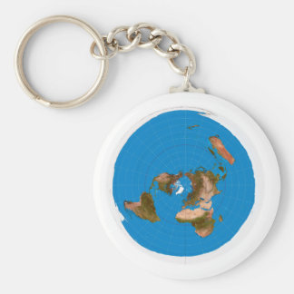 Flat Earth Map - Azimuthal Equidistant Projection Basic Round Button Keychain