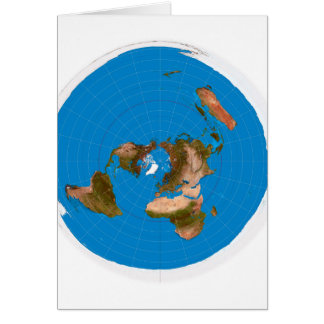 Flat Earth Map - Azimuthal Equidistant Projection Card