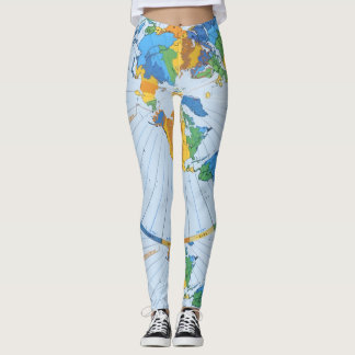 Flat Earth Map - Azimuthal Equidistant Projection Leggings