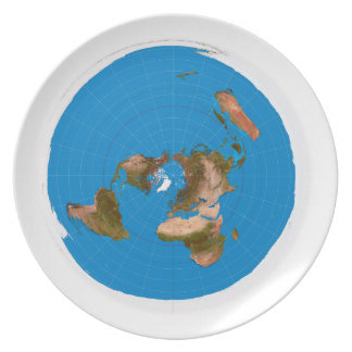Flat Earth Map - Azimuthal Equidistant Projection Plate