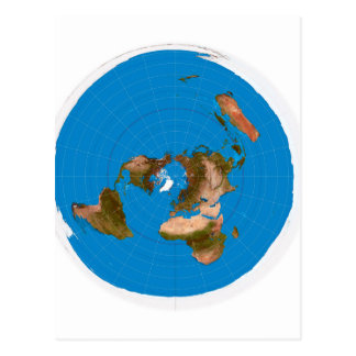 Flat Earth Map - Azimuthal Equidistant Projection Postcard