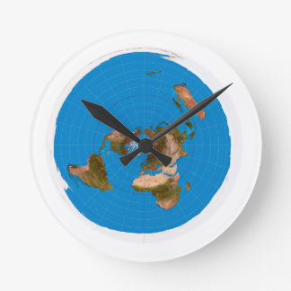 Flat Earth Map - Azimuthal Equidistant Projection Round Clock