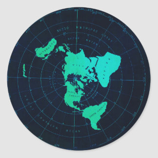 Flat Earth Map (Azimuthal equidistant projection) Round Sticker