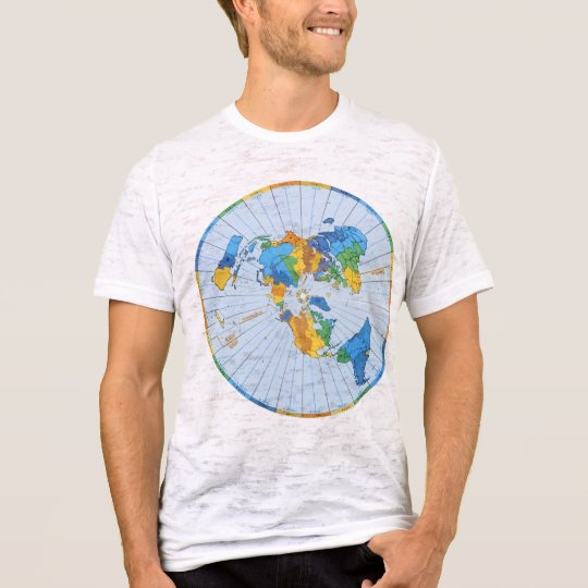 Flat Earth Map - Azimuthal Equidistant Projection T-Shirt
