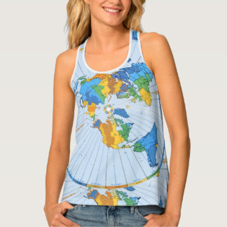Flat Earth Map - Azimuthal Equidistant Projection Tank Top