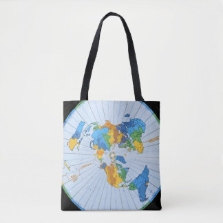 Flat Earth Map - Azimuthal Equidistant Projection Tote Bag