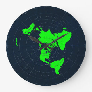Flat Earth Map Disk Large Clock