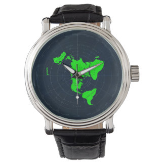 Flat Earth Map Disk Wrist Watch