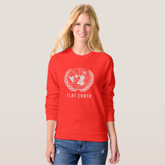 Flat Earth Map RED LONG SLEEVE SWEAT SHIRT LADIES