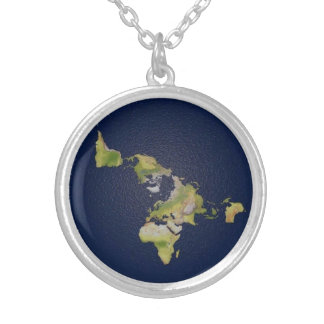 Flat Earth Small Silver Plated Round Necklace