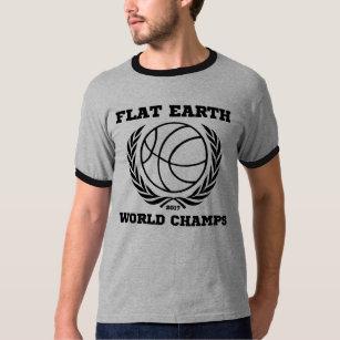 Flat Earth World Champs - RINGER BLACK GRAY T-Shirt