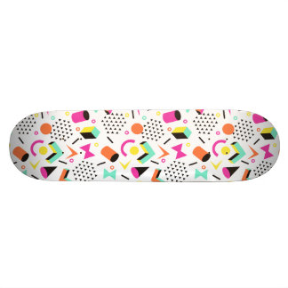 Flat Geometric Squiggly Memphis bold pattern 1980s Skate Board
