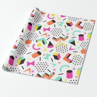 Flat Geometric Squiggly Memphis bold pattern 1980s Wrapping Paper