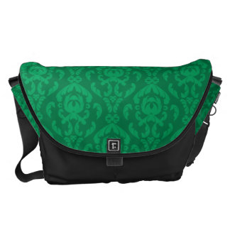 Flat Green Damask Pattern Courier Bags