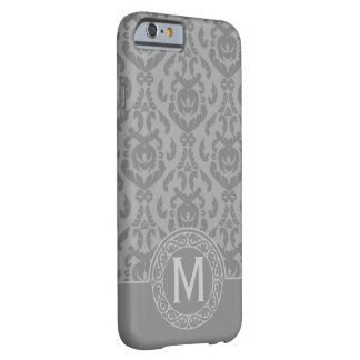 Flat Grey Damask Monogram Barely There iPhone 6 Case