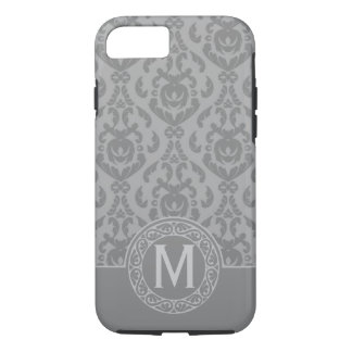 Flat Grey Damask Monogram iPhone 7 Case