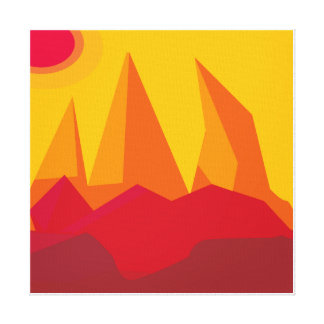 flat landscape mountains red canvas print