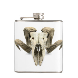 Flat man with head of a sheep hip flask