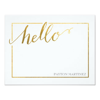 Flat Note Card | Gold Handwritten Hello