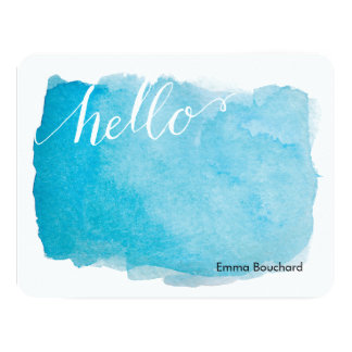 Flat Note Card | Hello Watercolor Blue
