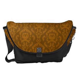 Flat Orange Damask Pattern Commuter Bags