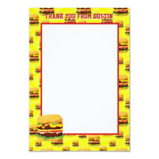 Flat Panel Two Sided Cheeseburger Thank You Cards