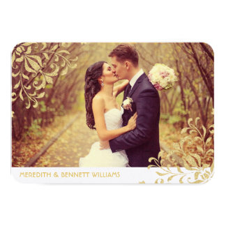 Flat Photo Thank You Card | Gold Vintage Glamour Custom Announcements