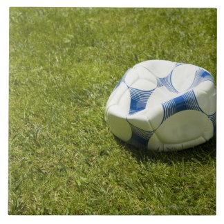 Flat soccer ball in grass, Germany Ceramic Tiles