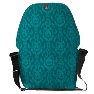 Flat Teal Damask Pattern Commuter Bag