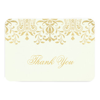 "Flat Thank You Note Card | Gold Vintage Glamour 3.5"" X 5"" Invitation Card"