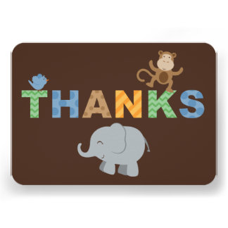 Flat Thank You Note Cards Jungle Animals
