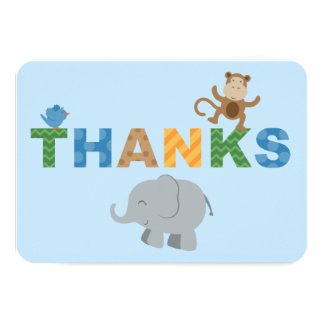 Flat Thank You Note Cards | Jungle Animals Personalized Invitations